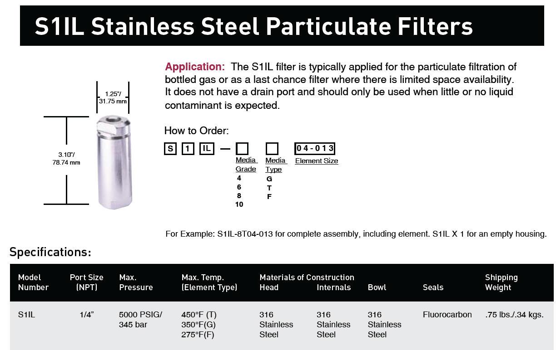 Comoso - Product - S1IL 5000 PSIG Pressure Inlne Filter